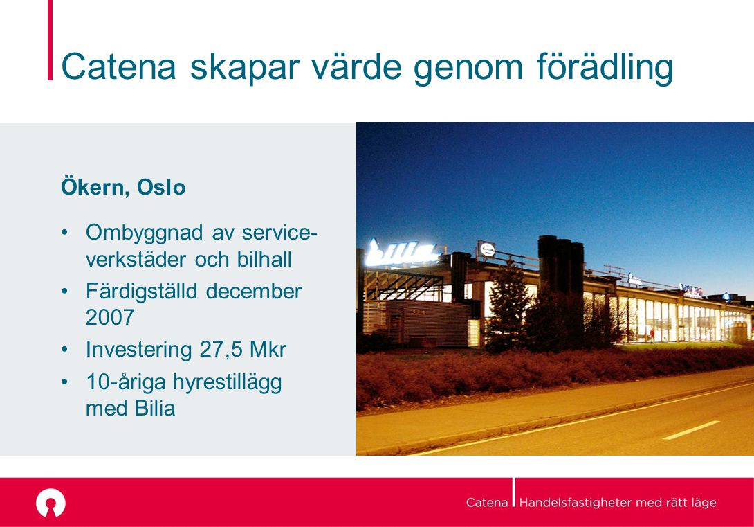 Catena skapar värde genom förädling Ökern, Oslo Ombyggnad av service- verkstäder och bilhall Färdigställd december 2007 Investering 27,5 Mkr 10-åriga hyrestillägg med Bilia