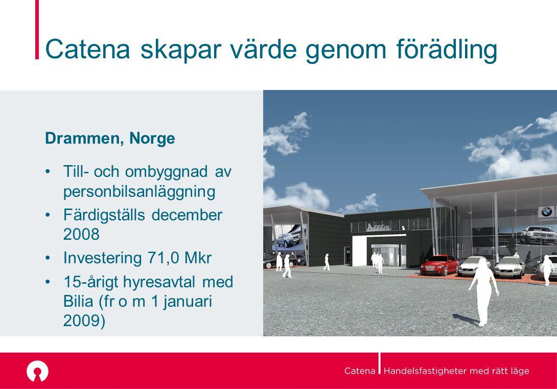 Catena skapar värde genom förädling Drammen, Norge Till- och ombyggnad av personbilsanläggning Färdigställs december 2008 Investering 71,0 Mkr 15-årigt hyresavtal med Bilia (fr o m 1 januari 2009)
