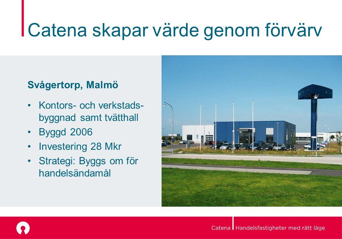 Catena skapar värde genom förvärv Svågertorp, Malmö Kontors- och verkstads- byggnad samt tvätthall Byggd 2006 Investering 28 Mkr Strategi: Byggs om för handelsändamål
