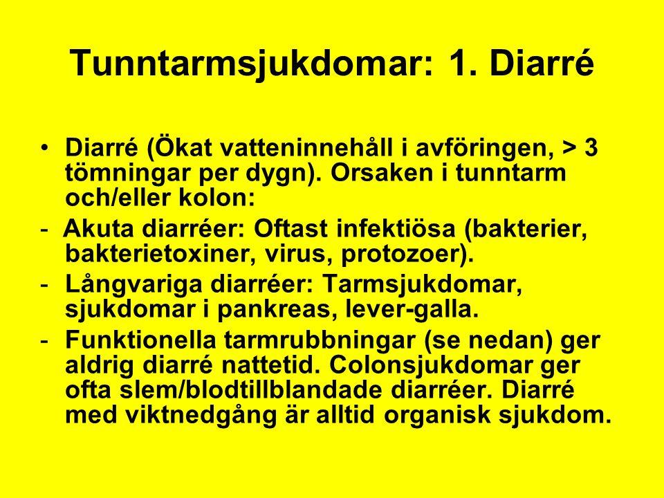 Tunntarmsjukdomar: 1. Diarré Diarré (Ökat vatteninnehåll i avföringen, > 3 tömningar per dygn). Orsaken i tunntarm och/eller kolon: - Akuta diarréer: