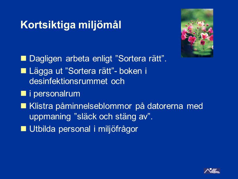 Långsiktiga mål Regelbunden information från enhetscheferna om aktuella miljöfrågor Implementera praktisk tillämpning av miljöfrågor Utbilda all personal i miljötänk – miljön skonas när vi är rädda om träden, vattnet och energin Involvera föräldrarna i Sortera rätt Sätta upp källsorteringskärl i vårdrum/korridor Lägga in information om miljö i föräldrapärmarna