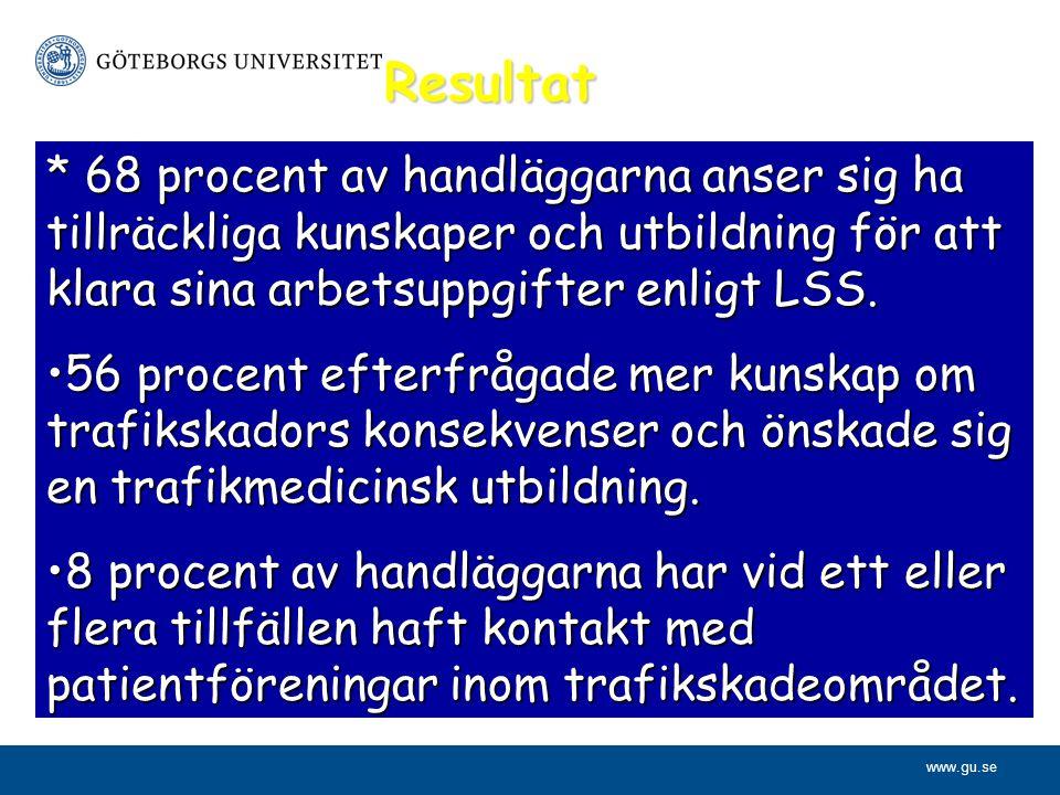 www.gu.se Resultat * 68 procent av handläggarna anser sig ha tillräckliga kunskaper och utbildning för att klara sina arbetsuppgifter enligt LSS. 56 p