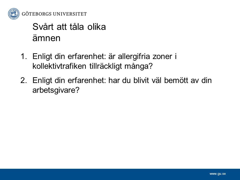 www.gu.se Svårt att tåla olika ämnen 1.Enligt din erfarenhet: är allergifria zoner i kollektivtrafiken tillräckligt många? 2.Enligt din erfarenhet: ha