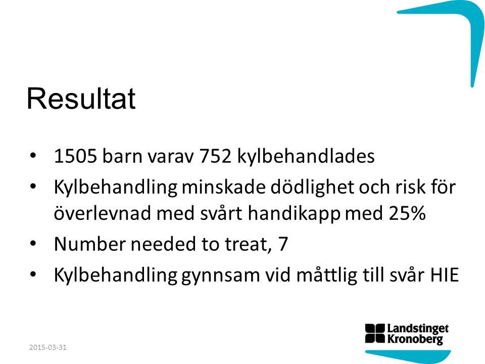 Resultat 1505 barn varav 752 kylbehandlades Kylbehandling minskade dödlighet och risk för överlevnad med svårt handikapp med 25% Number needed to trea