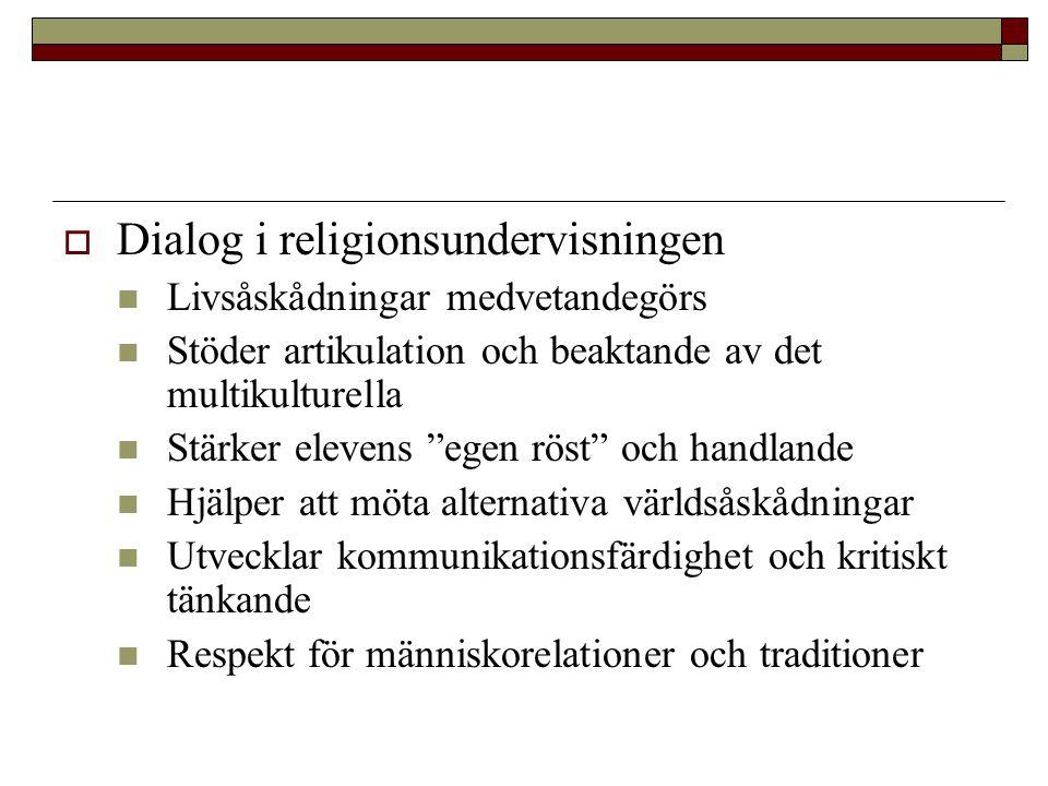 """ Dialog i religionsundervisningen Livsåskådningar medvetandegörs Stöder artikulation och beaktande av det multikulturella Stärker elevens """"egen röst"""""""