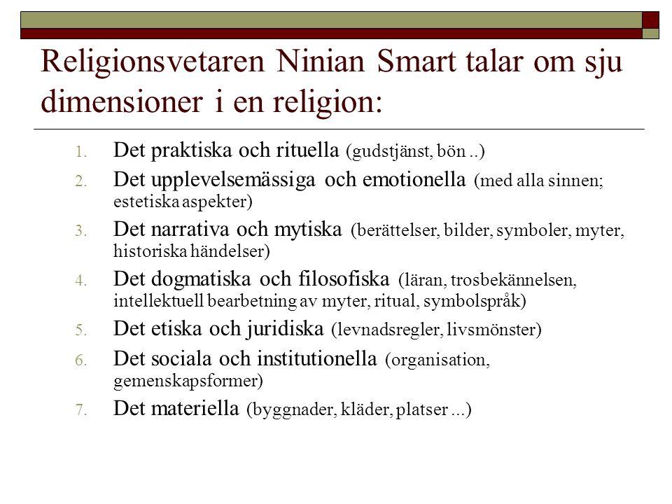 Religionsvetaren Ninian Smart talar om sju dimensioner i en religion: 1. Det praktiska och rituella (gudstjänst, bön..) 2. Det upplevelsemässiga och e