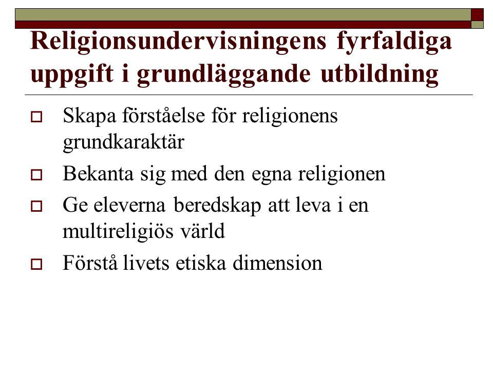 Religionsundervisningens fyrfaldiga uppgift i grundläggande utbildning  Skapa förståelse för religionens grundkaraktär  Bekanta sig med den egna rel