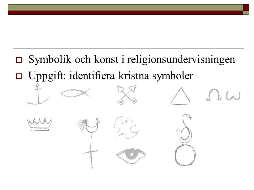  Symbolik och konst i religionsundervisningen  Uppgift: identifiera kristna symboler