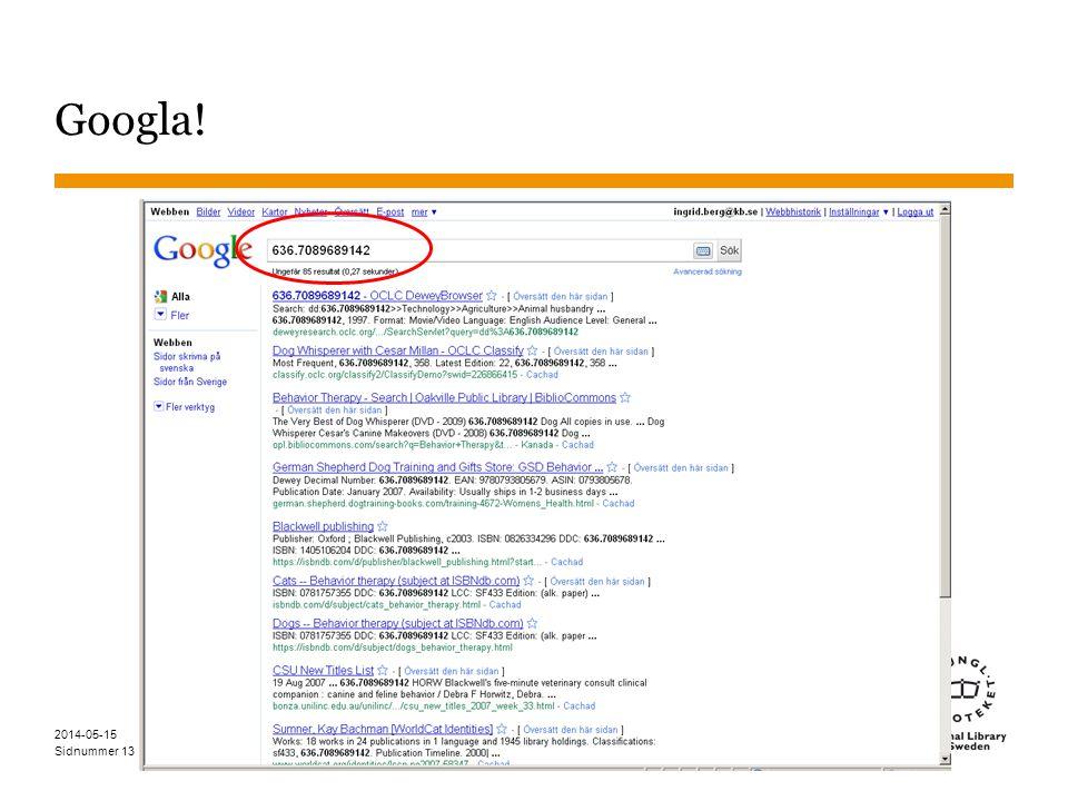 Sidnummer Googla! 13 2014-05-15