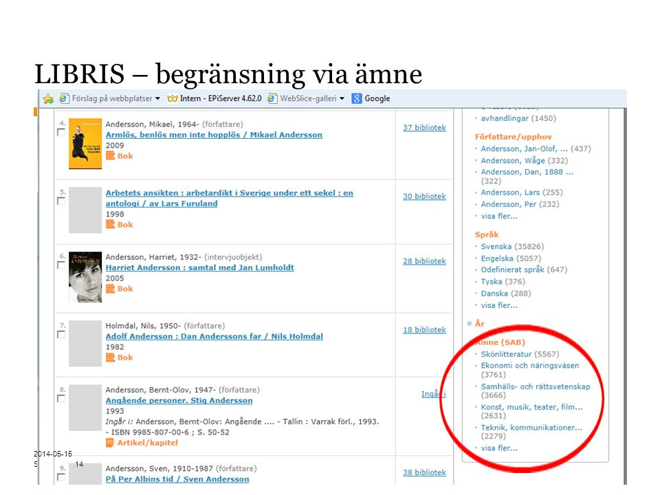 Sidnummer LIBRIS – begränsning via ämne 14 2014-05-15