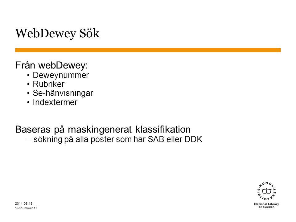 Sidnummer WebDewey Sök Från webDewey: Deweynummer Rubriker Se-hänvisningar Indextermer Baseras på maskingenerat klassifikation – sökning på alla poste