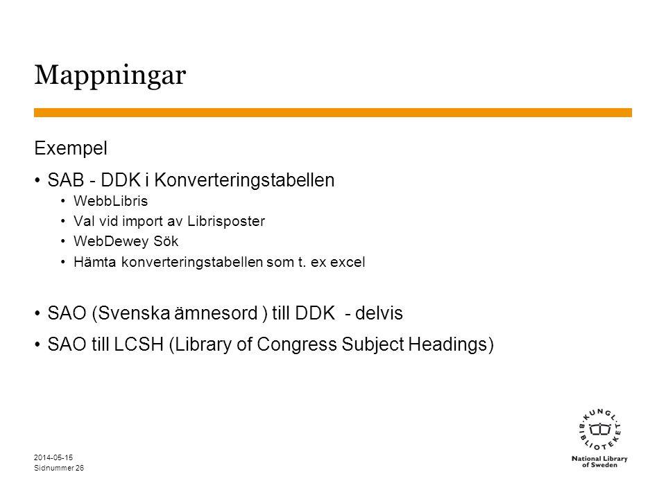 Sidnummer Mappningar Exempel SAB - DDK i Konverteringstabellen WebbLibris Val vid import av Librisposter WebDewey Sök Hämta konverteringstabellen som