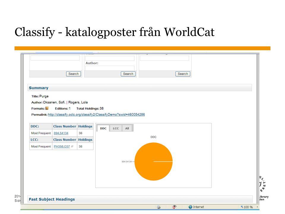 Sidnummer Classify - katalogposter från WorldCat 37 2014-05-15