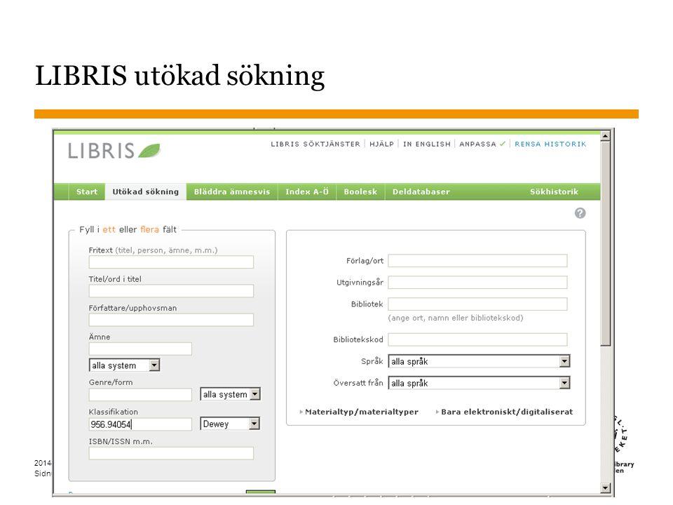 Sidnummer LIBRIS utökad sökning 4 2014-05-15