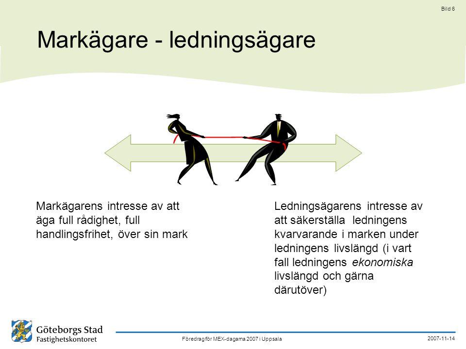 Föredrag för MEX-dagarna 2007 i Uppsala 2007-11-14 Bild 7 Olika typer av rättigheter för ledningars nedläggande och kvarhållande i mark markägarens intresse av handlings- frihet s k kulverttillstånd; enkla, ensidiga medgivanden nyttjanderätt; arrenderätt servitut ledningsrätt ledningsägarens intresse av att säkerställa ett kvar- varande i marken schematisk bild