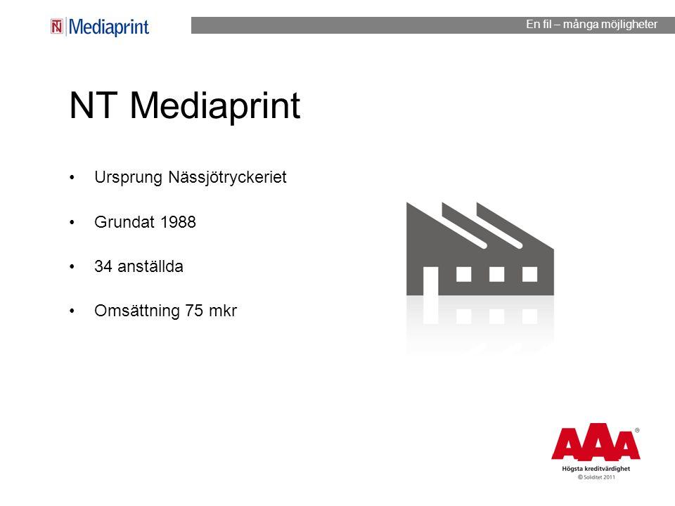 NT Mediaprint Ursprung Nässjötryckeriet Grundat 1988 34 anställda Omsättning 75 mkr En fil – många möjligheter