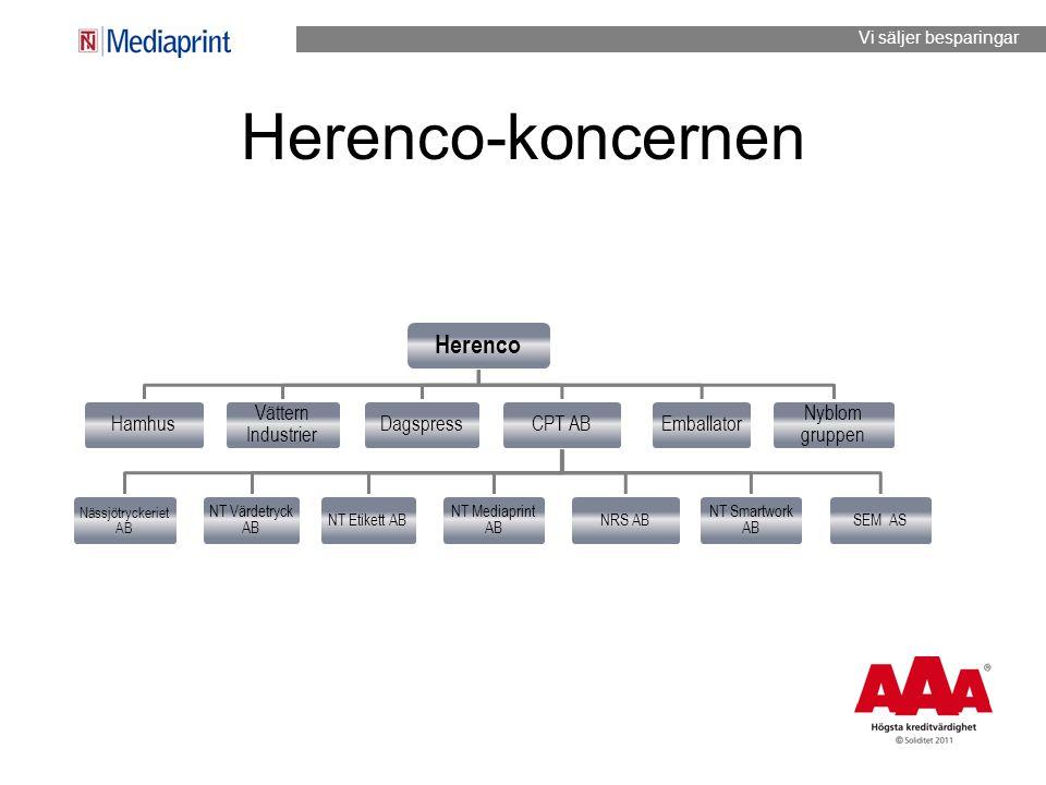 Herenco-koncernen Herenco Hamhus Vättern Industrier DagspressCPT AB Nässjötryckeriet AB NT Värdetryck AB NT Etikett AB NT Mediaprint AB NRS AB NT Smar