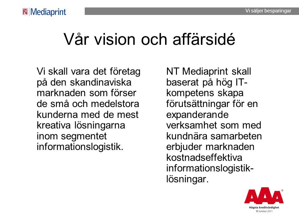 Vår vision och affärsidé Vi skall vara det företag på den skandinaviska marknaden som förser de små och medelstora kunderna med de mest kreativa lösni