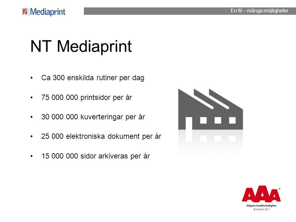 NT Mediaprint Ca 300 enskilda rutiner per dag 75 000 000 printsidor per år 30 000 000 kuverteringar per år 25 000 elektroniska dokument per år 15 000