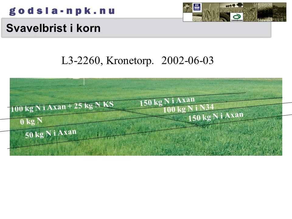 Olika grödors svavelrespons Effekter i Hydroförsök vid svavelbrist Höstoljeväxter+++ 7-30 % Våroljeväxter+++ 16 % Vall++ 7 % Höstsäd+ 1-2 % (max 10 %)