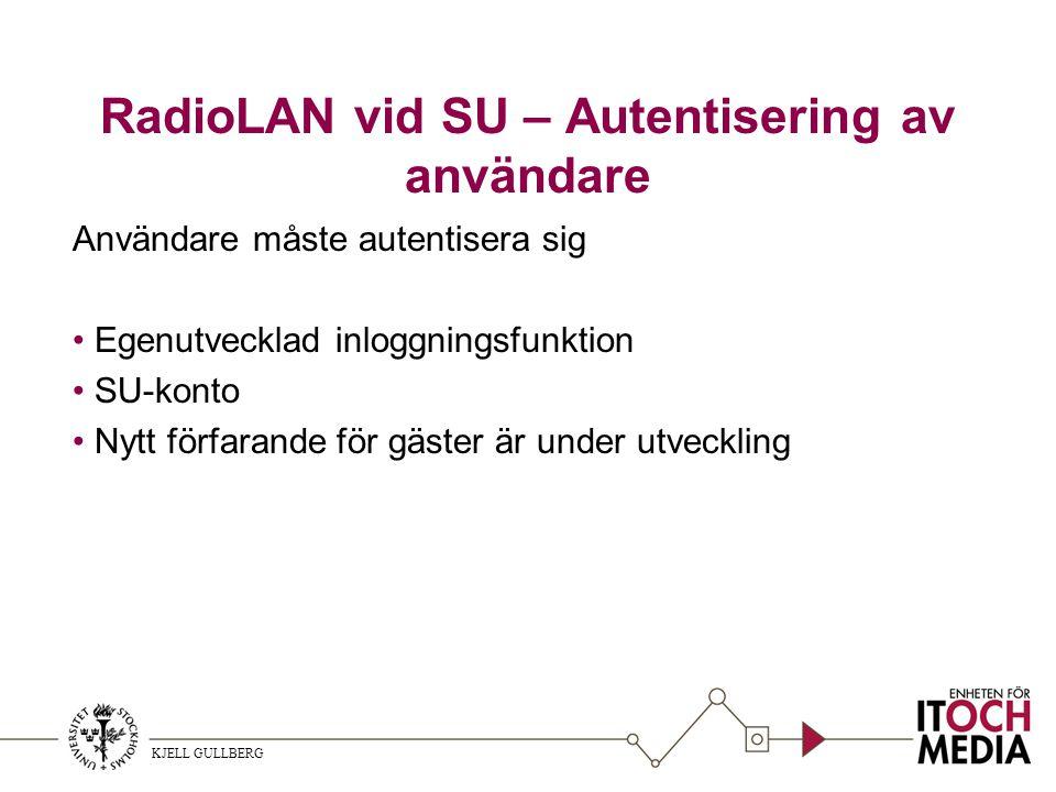 KJELL GULLBERG RadioLAN vid SU – Autentisering av användare Användare måste autentisera sig Egenutvecklad inloggningsfunktion SU-konto Nytt förfarande för gäster är under utveckling