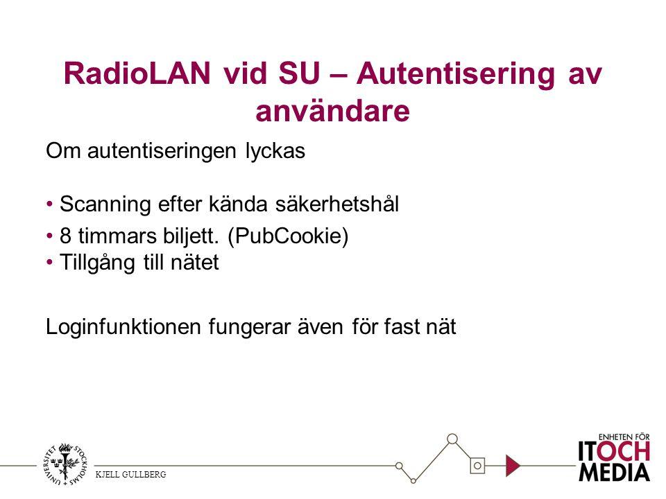KJELL GULLBERG RadioLAN vid SU – Autentisering av användare Om autentiseringen lyckas Scanning efter kända säkerhetshål 8 timmars biljett.