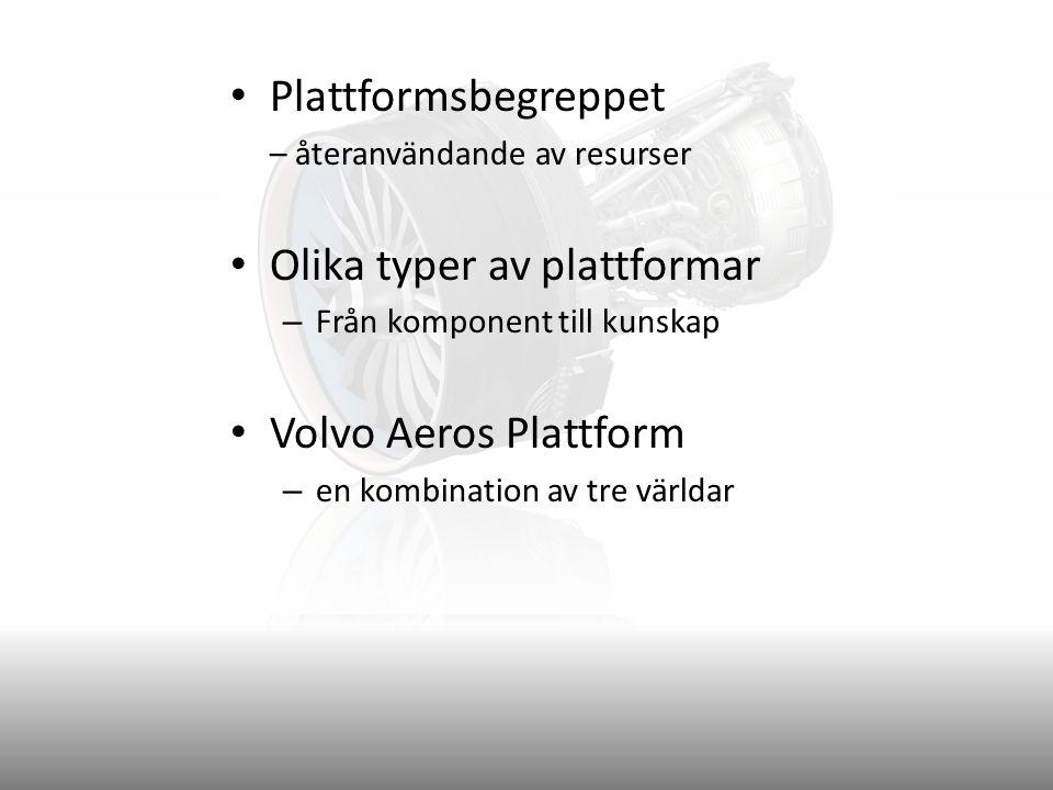 Plattformsbegreppet – återanvändande av resurser Olika typer av plattformar – Från komponent till kunskap Volvo Aeros Plattform – en kombination av tre världar