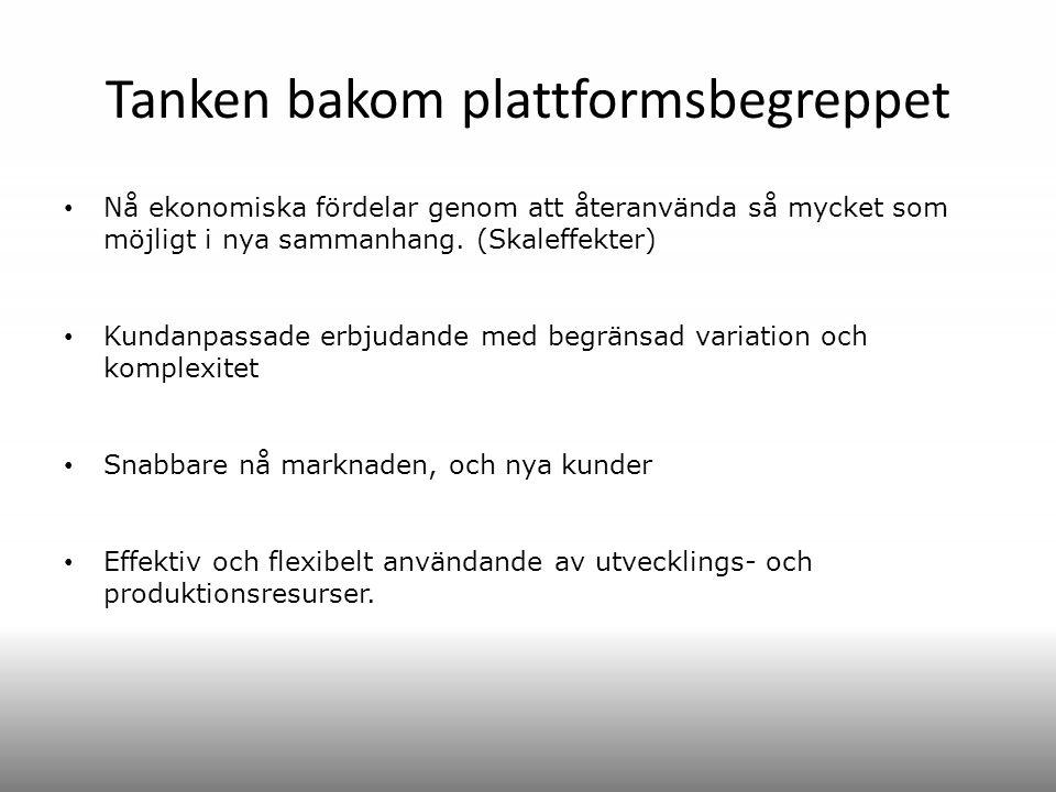 Tanken bakom plattformsbegreppet Nå ekonomiska fördelar genom att återanvända så mycket som möjligt i nya sammanhang. (Skaleffekter) Kundanpassade erb