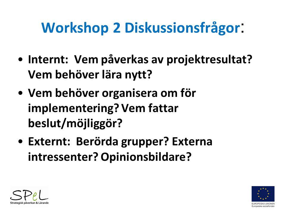 Workshop 2 Diskussionsfrågor : Internt: Vem påverkas av projektresultat? Vem behöver lära nytt? Vem behöver organisera om för implementering? Vem fatt