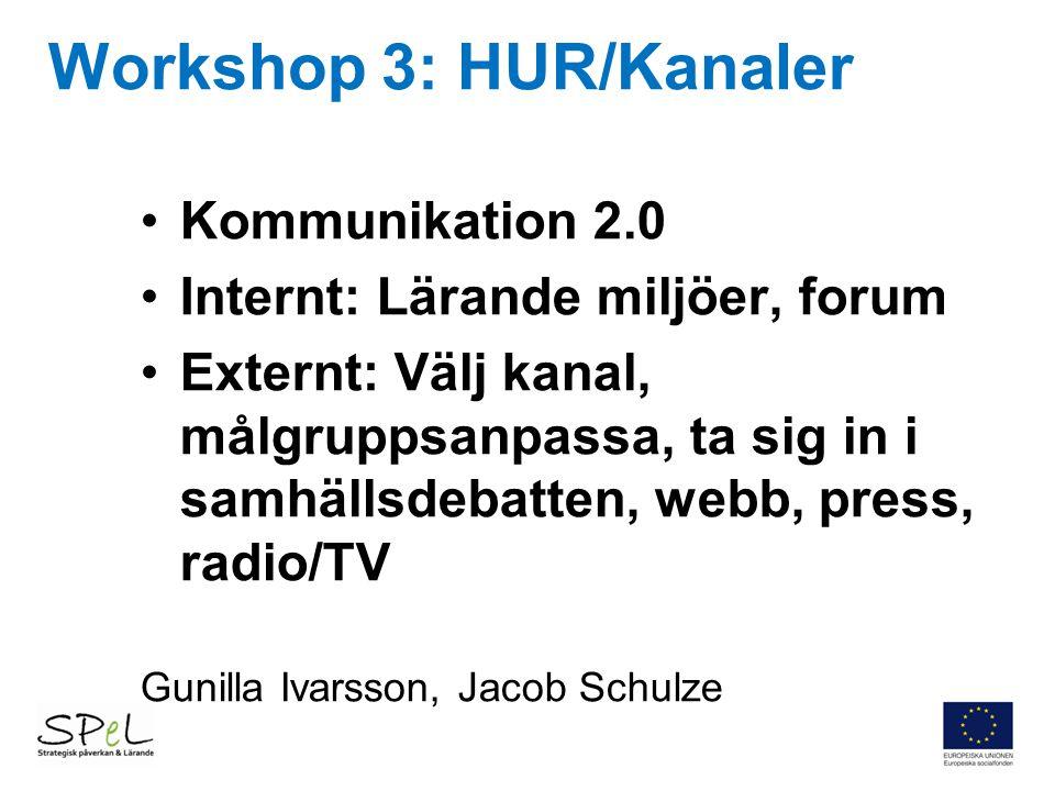 Workshop 3: HUR/Kanaler Kommunikation 2.0 Internt: Lärande miljöer, forum Externt: Välj kanal, målgruppsanpassa, ta sig in i samhällsdebatten, webb, p