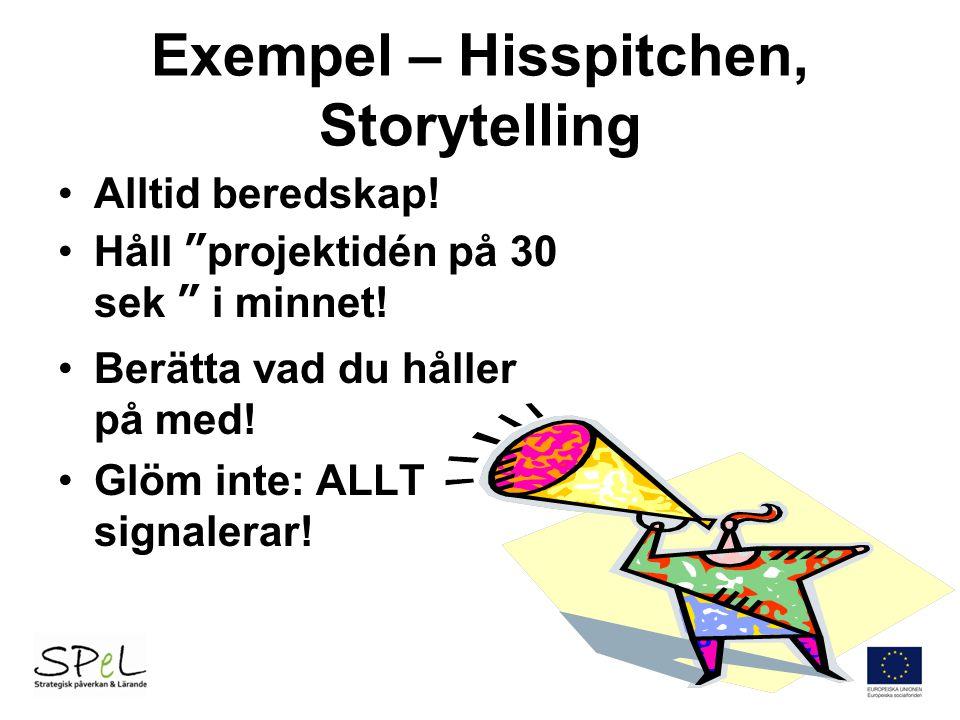 """Exempel – Hisspitchen, Storytelling Alltid beredskap! Håll """"projektidén på 30 sek """" i minnet! Berätta vad du håller på med! Glöm inte: ALLT signalerar"""
