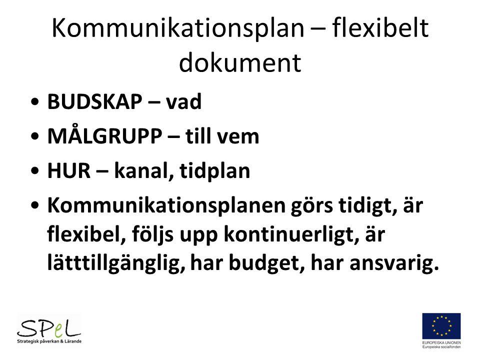 Kommunikationsplan – flexibelt dokument BUDSKAP – vad MÅLGRUPP – till vem HUR – kanal, tidplan Kommunikationsplanen görs tidigt, är flexibel, följs up