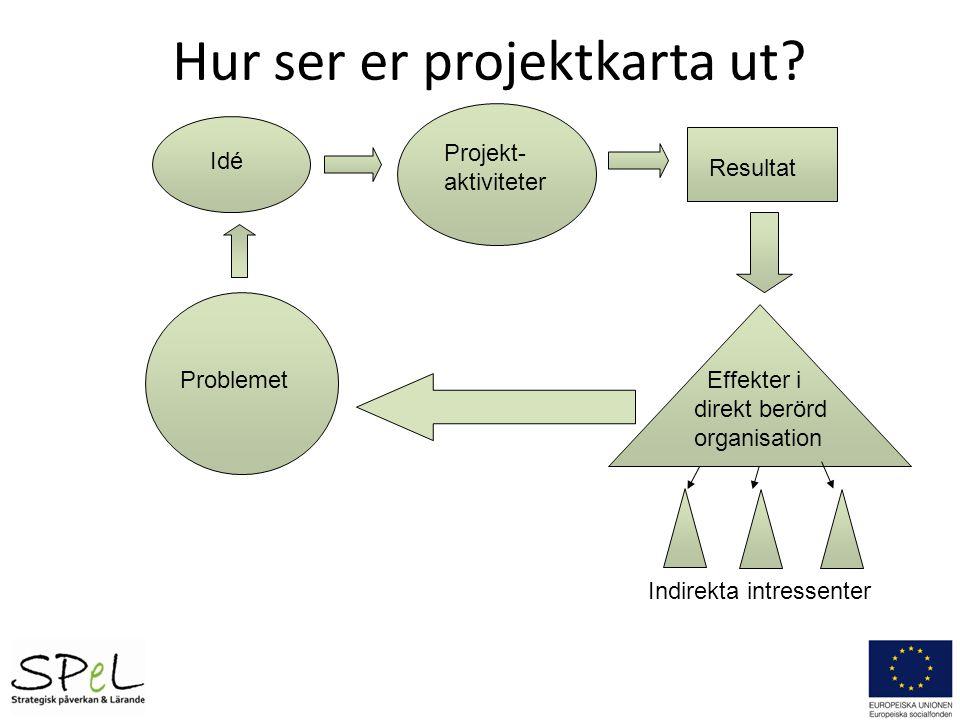 Problemet Idé Projekt- aktiviteter Resultat Effekter i direkt berörd organisation Indirekta intressenter Hur ser er projektkarta ut?