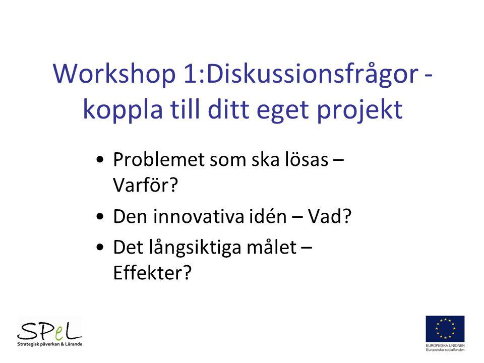 Workshop 1:Diskussionsfrågor - koppla till ditt eget projekt Problemet som ska lösas – Varför? Den innovativa idén – Vad? Det långsiktiga målet – Effe
