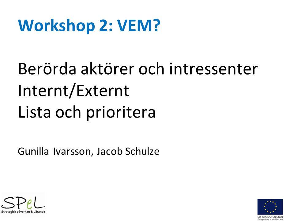 Workshop 2: VEM? Berörda aktörer och intressenter Internt/Externt Lista och prioritera Gunilla Ivarsson, Jacob Schulze