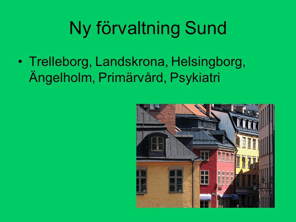 Ny förvaltning Sund Trelleborg, Landskrona, Helsingborg, Ängelholm, Primärvård, Psykiatri
