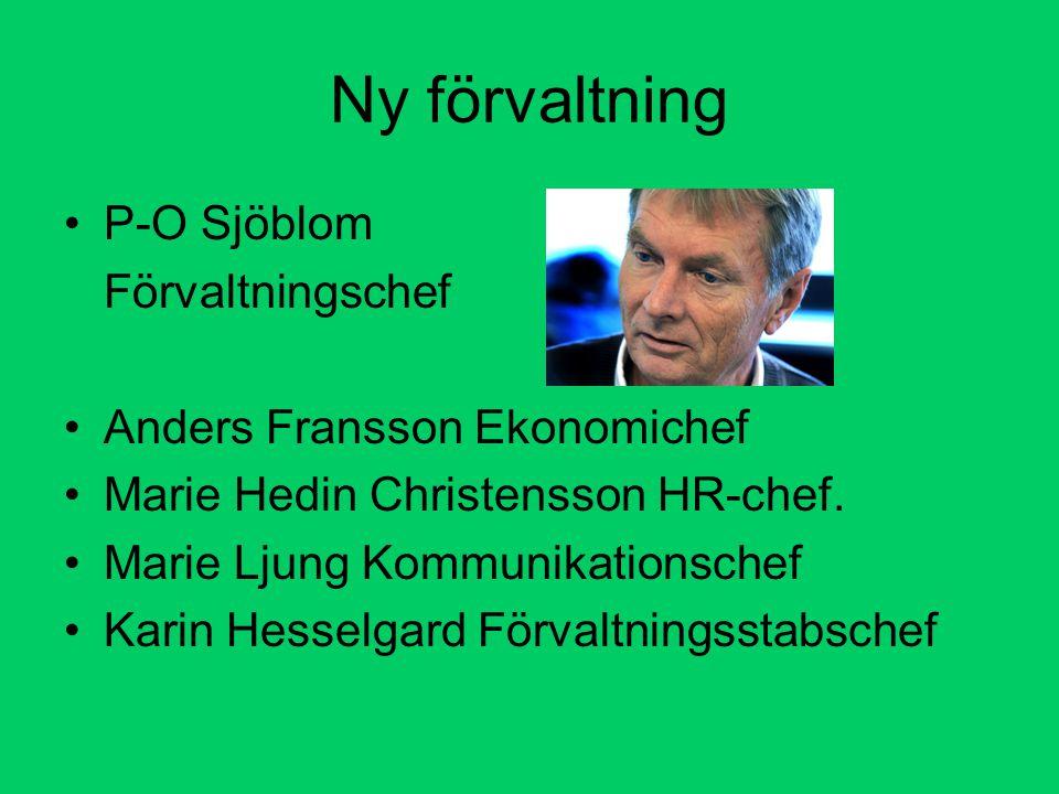 Ny förvaltning P-O Sjöblom Förvaltningschef Anders Fransson Ekonomichef Marie Hedin Christensson HR-chef.