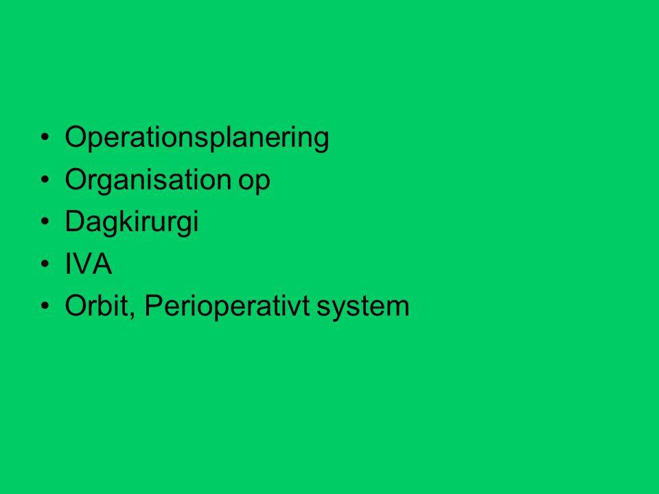 Operationsplanering Organisation op Dagkirurgi IVA Orbit, Perioperativt system