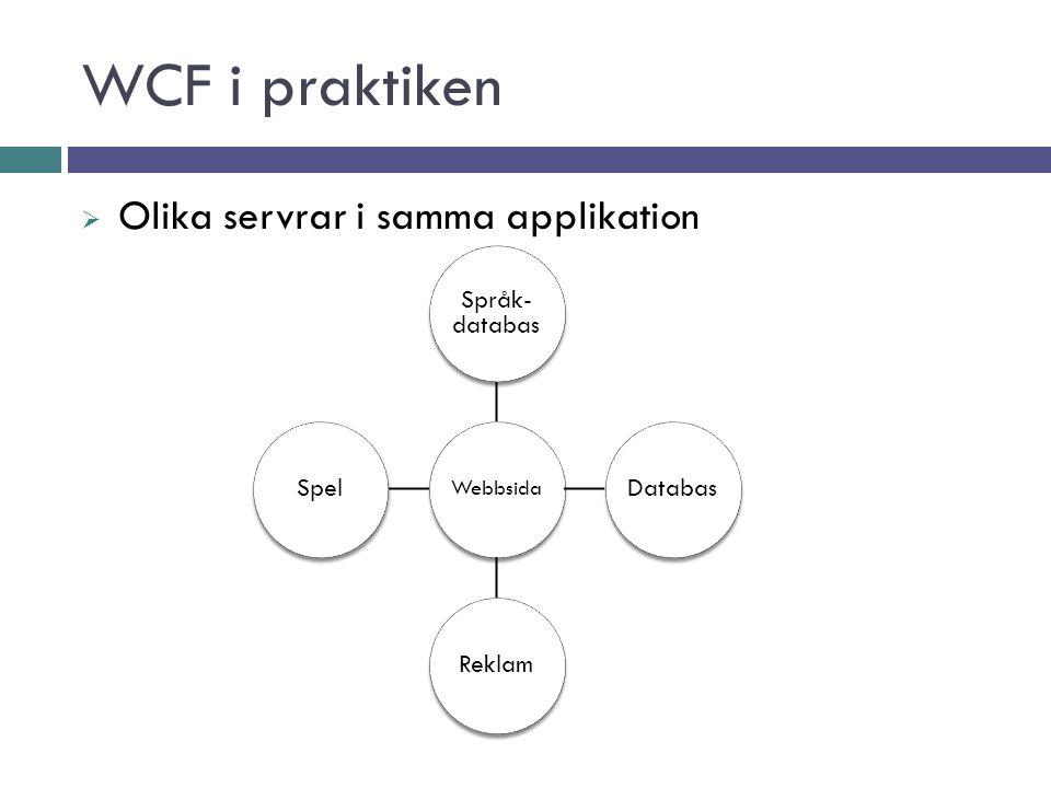 WCF i praktiken  Olika servrar i samma applikation Webbsida Språk- databas DatabasReklamSpel