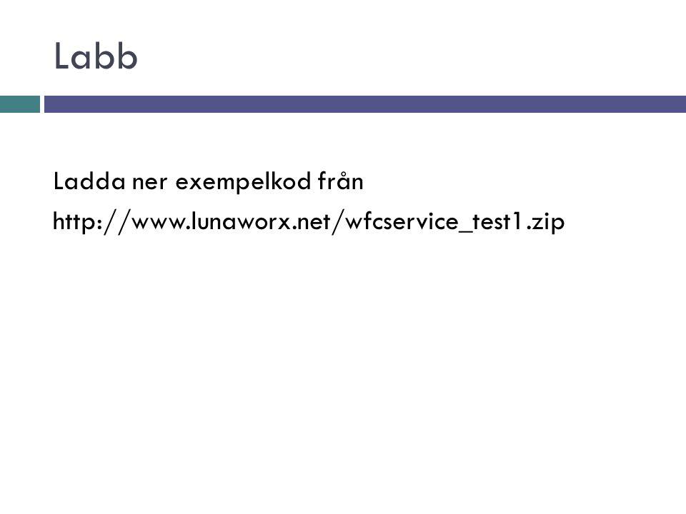Labb Ladda ner exempelkod från http://www.lunaworx.net/wfcservice_test1.zip