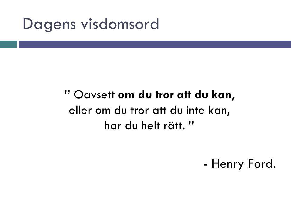 """Dagens visdomsord """" Oavsett om du tror att du kan, eller om du tror att du inte kan, har du helt rätt. """" - Henry Ford."""