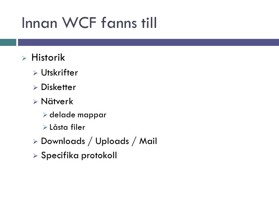 Innan WCF fanns till  Historik  Utskrifter  Disketter  Nätverk  delade mappar  Låsta filer  Downloads / Uploads / Mail  Specifika protokoll
