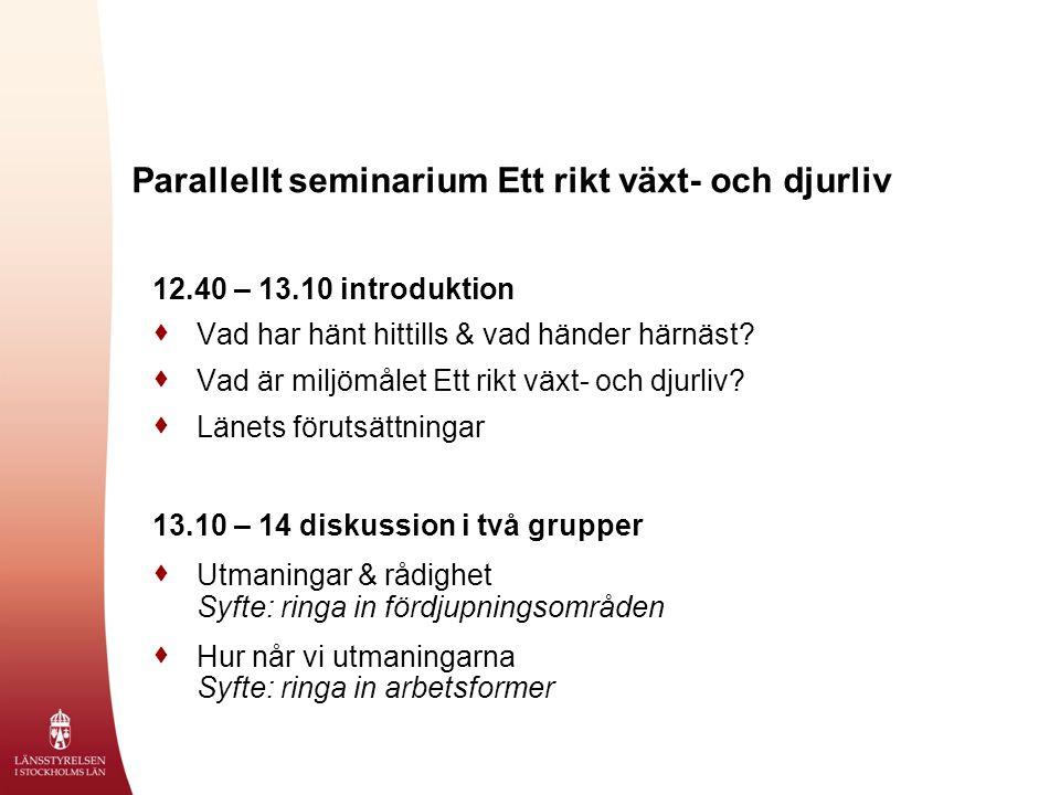 Parallellt seminarium Ett rikt växt- och djurliv 12.40 – 13.10 introduktion  Vad har hänt hittills & vad händer härnäst.