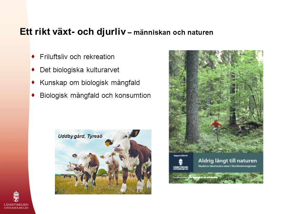 Ett rikt växt- och djurliv – människan och naturen  Friluftsliv och rekreation  Det biologiska kulturarvet  Kunskap om biologisk mångfald  Biologisk mångfald och konsumtion Uddby gård, Tyresö