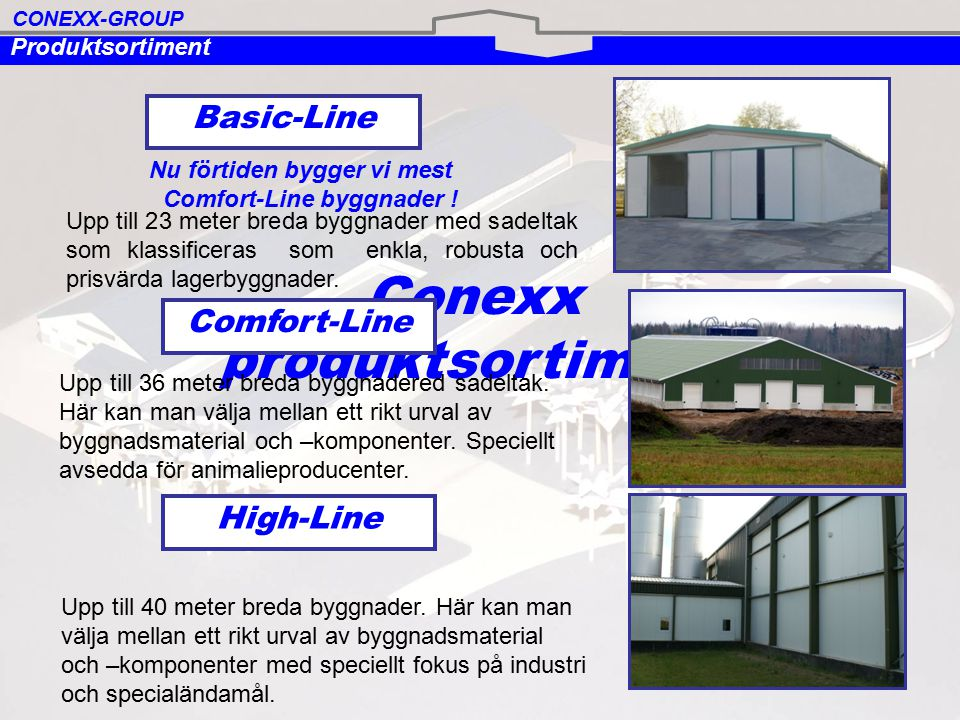 GRUND BETONGELEMENT LJUSNOCK TAKAVVATTNING TAKSKJUTPORTAR STÅLSTOMME TAKÅSAR TAK VÄGGAR Så här är en Comfort-Line- byggnad konstruerad CONEXX-GROUP COMFORT-LINE