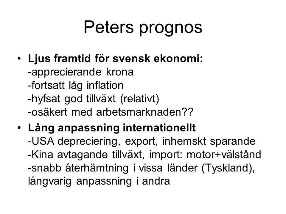 Peters prognos Ljus framtid för svensk ekonomi: -apprecierande krona -fortsatt låg inflation -hyfsat god tillväxt (relativt) -osäkert med arbetsmarkna