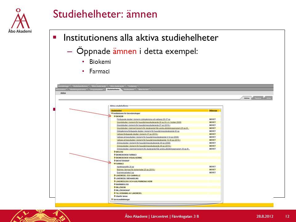 Studiehelheter: ämnen  Institutionens alla aktiva studiehelheter – Öppnade ämnen i detta exempel: Biokemi Farmaci  Mmm 28.8.2012Åbo Akademi | Lärcen