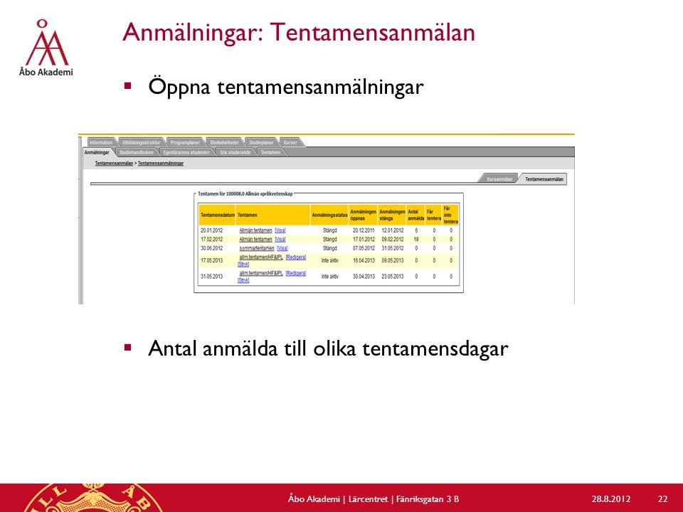 Anmälningar: Tentamensanmälan  Öppna tentamensanmälningar  Antal anmälda till olika tentamensdagar 28.8.2012Åbo Akademi | Lärcentret | Fänriksgatan