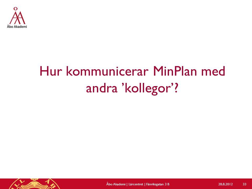 Hur kommunicerar MinPlan med andra 'kollegor'? 28.8.2012Åbo Akademi | Lärcentret | Fänriksgatan 3 B 33