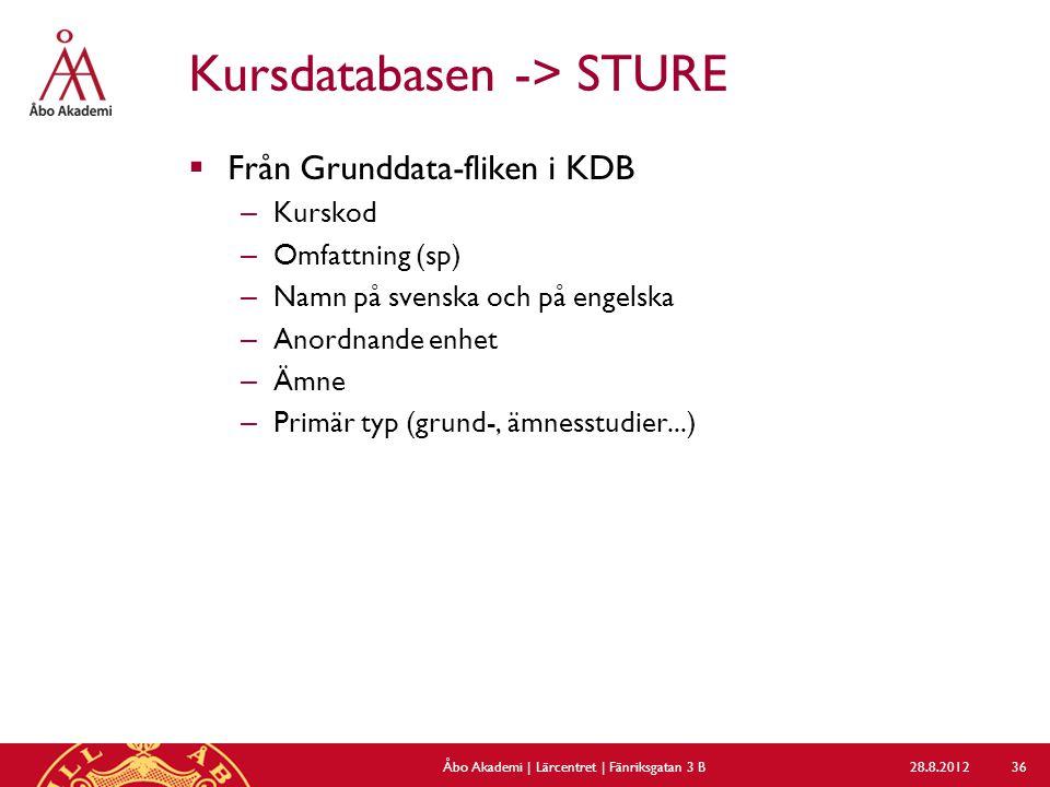 Kursdatabasen -> STURE  Från Grunddata-fliken i KDB – Kurskod – Omfattning (sp) – Namn på svenska och på engelska – Anordnande enhet – Ämne – Primär